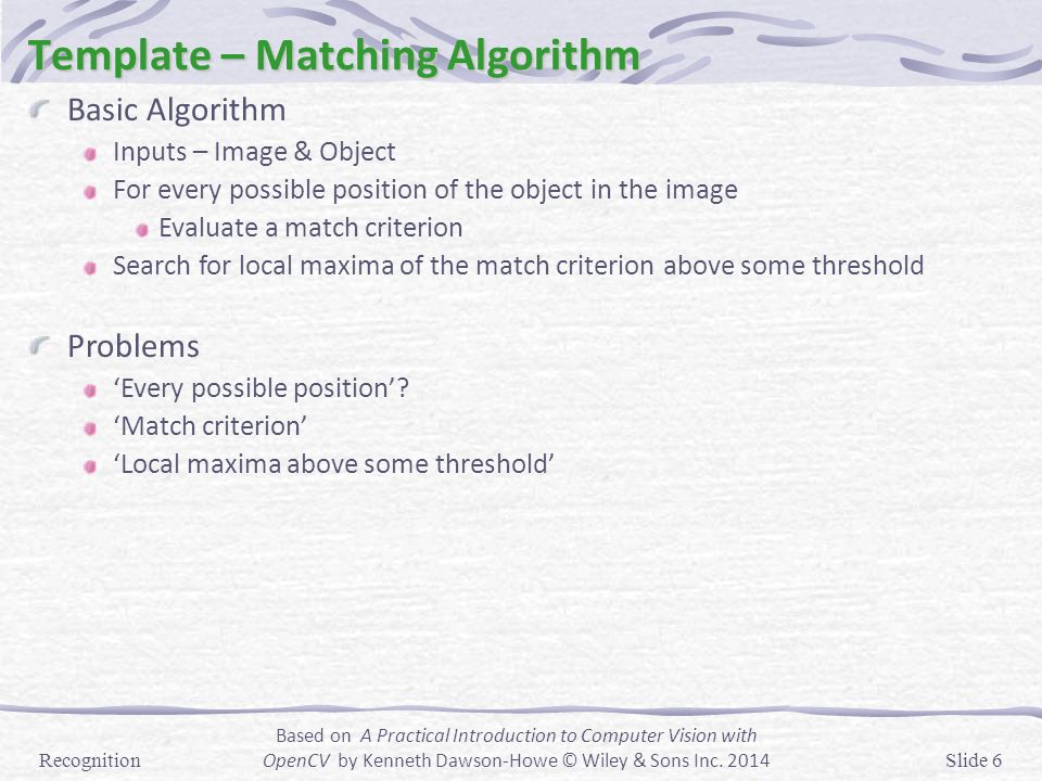 Recognition Template Matching Statistical Pattern Recognition (Spr