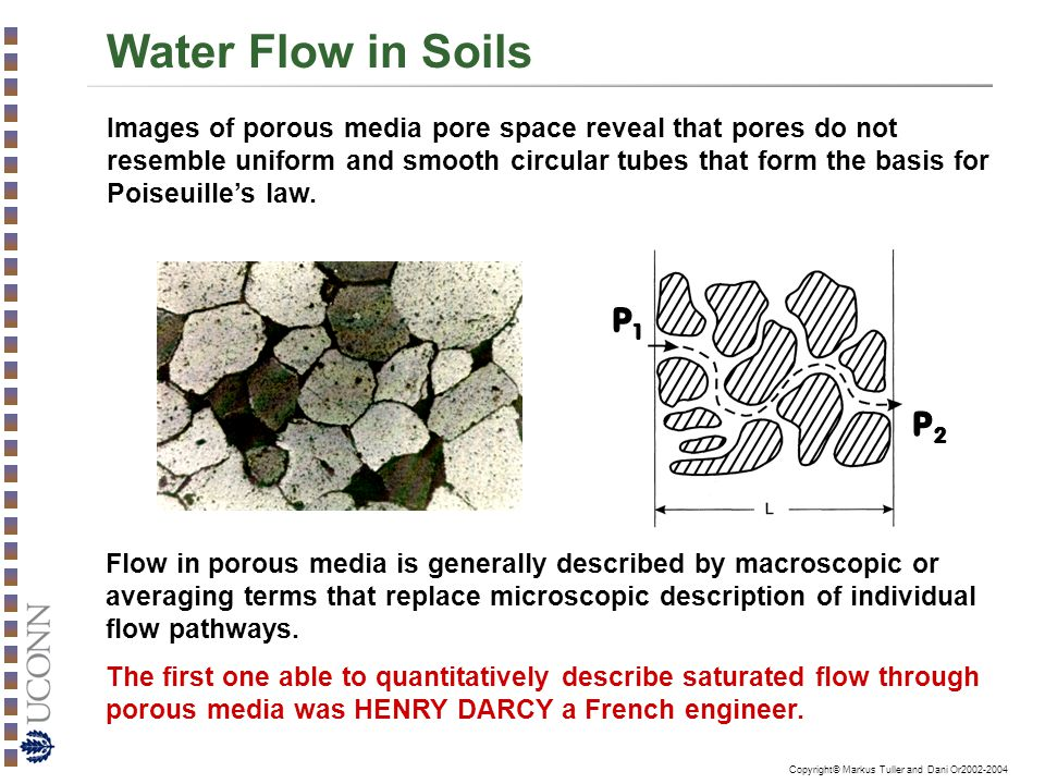 Water flow in saturated soils darcy s law ppt video for Describe soil