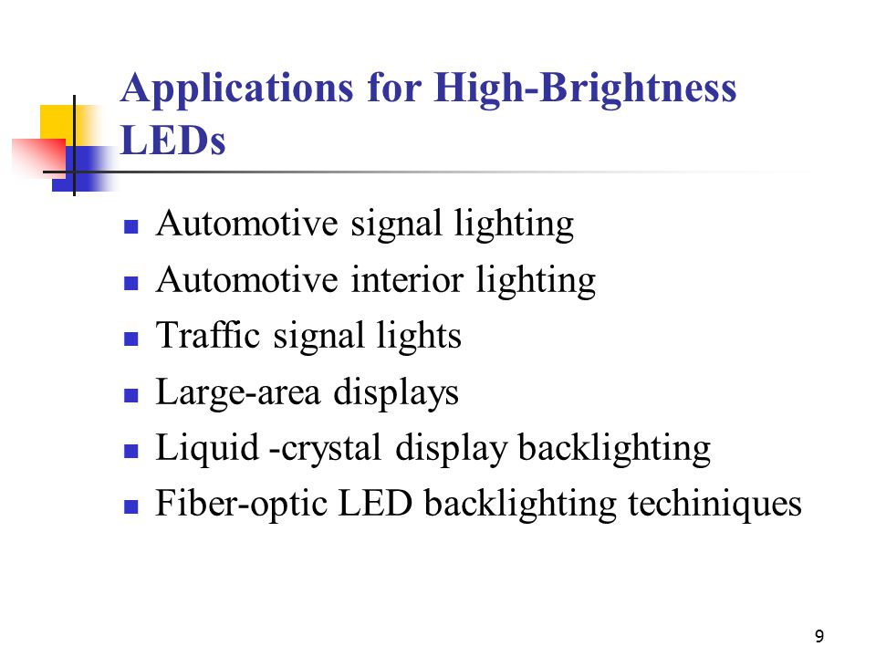 Applications for High-Brightness LEDs