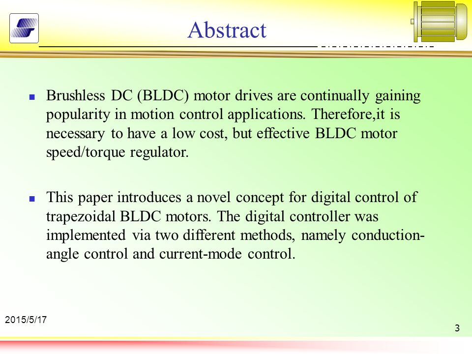 A novel digital control technique for brushless dc motor for Brushless dc motor control using digital pwm techniques