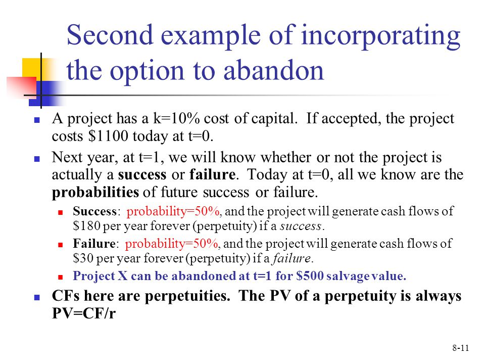 Second example of incorporating the option to abandon