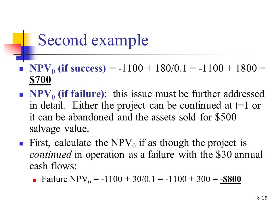 Second example NPV0 (if success) = /0.1 = = $700.