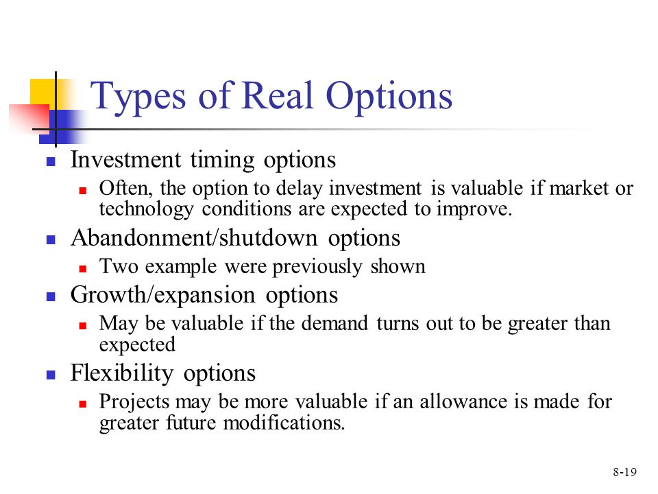 Types of Real Options Investment timing options
