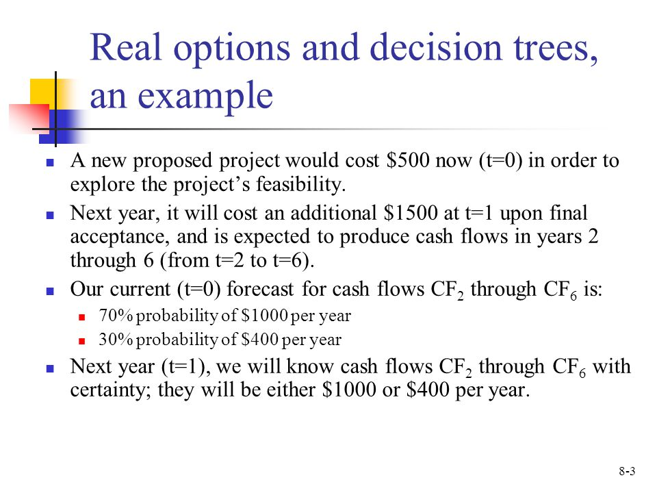 Real options and decision trees, an example