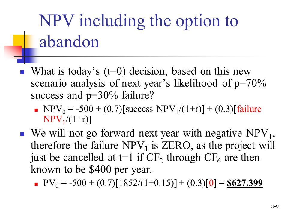 NPV including the option to abandon
