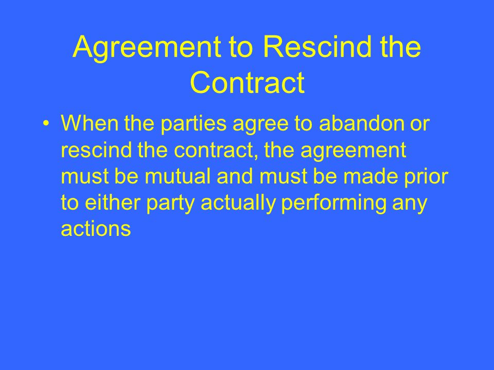 Chapter 10 discharge performance and cancellation of a contract agreement to rescind the contract platinumwayz