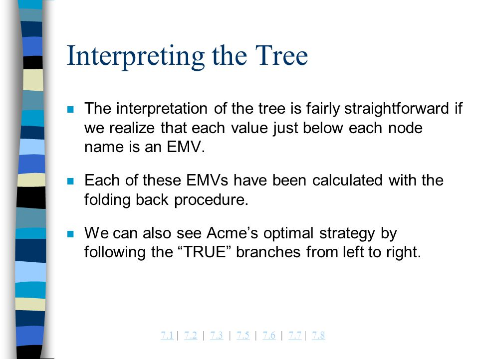Interpreting the Tree The interpretation of the tree is fairly straightforward if we realize that each value just below each node name is an EMV.