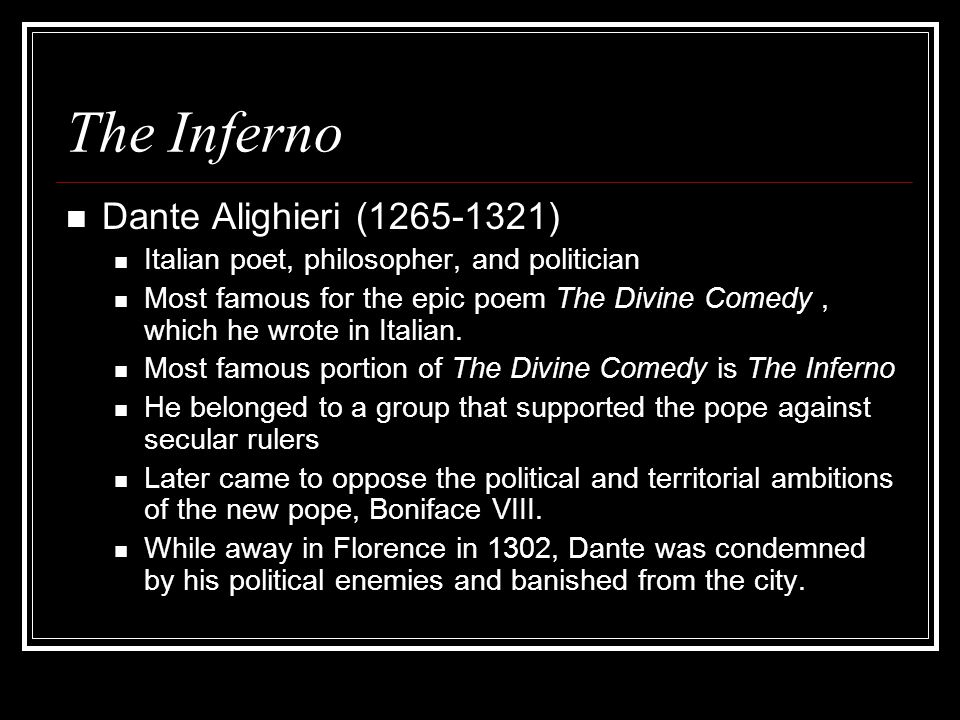 an analysis of the epic poem the divine comedy by dante alighieri Complete summary of dante alighieri's the divine comedy  in this epic poem,  dante's alter ego, the pilgrim, travels through hell and purgatory to reach.