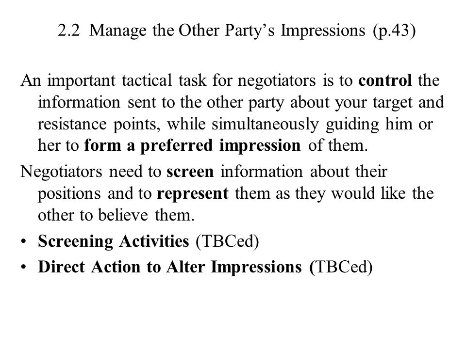 2.2 Manage the Other Party's Impressions (p.43)