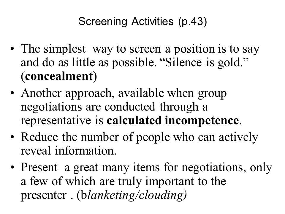 Screening Activities (p.43)