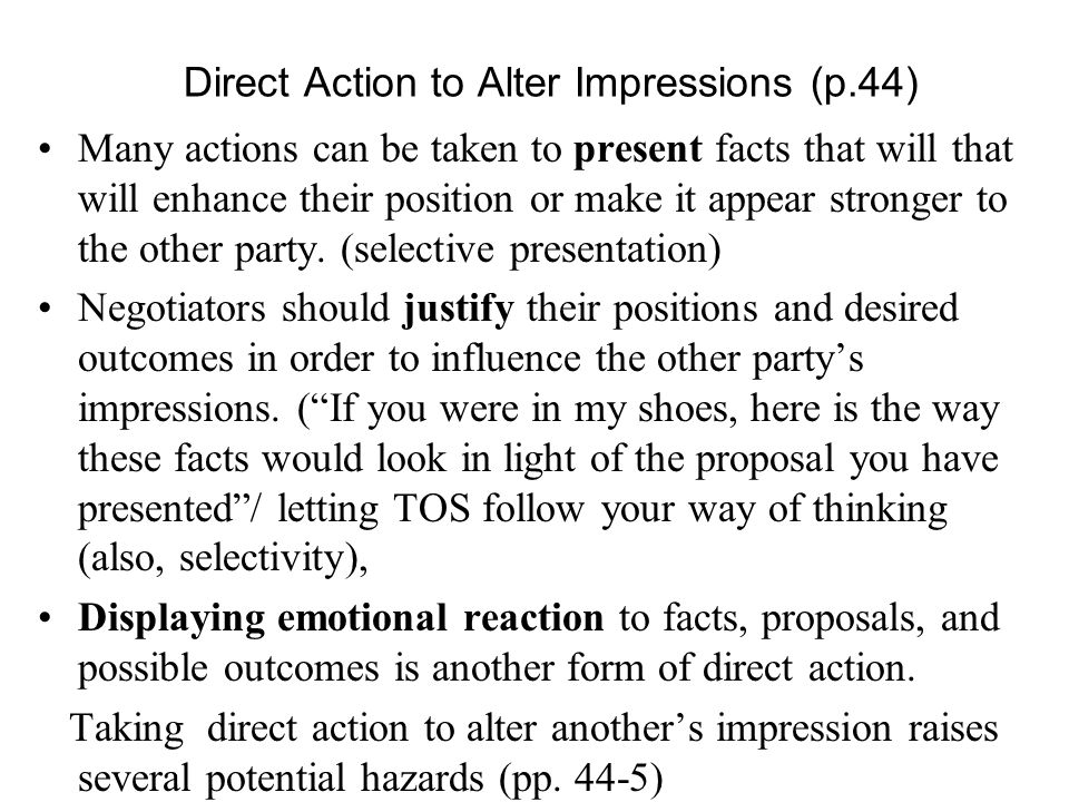 Direct Action to Alter Impressions (p.44)