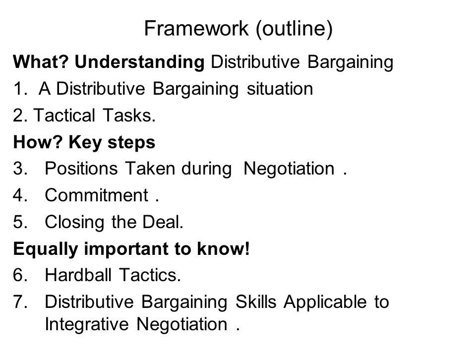 Framework (outline) What Understanding Distributive Bargaining
