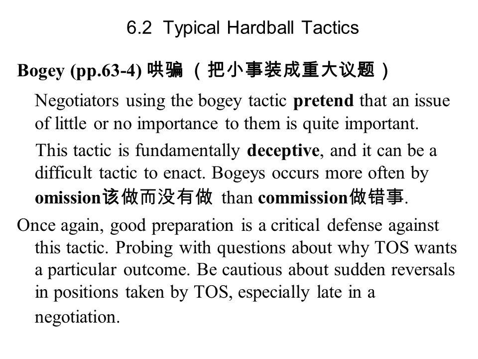 6.2 Typical Hardball Tactics