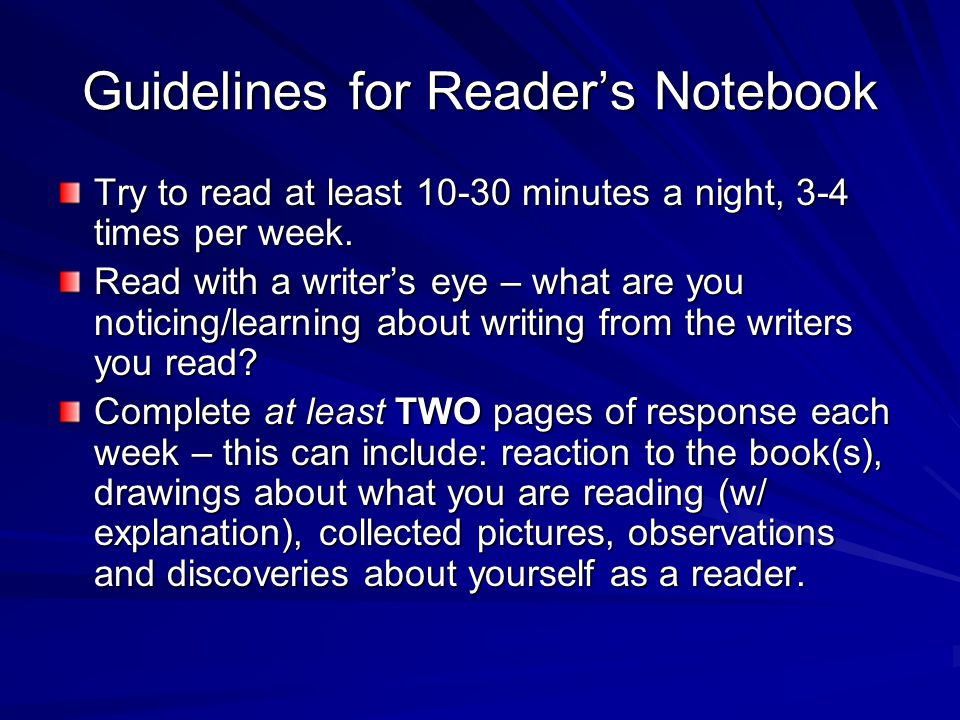 Guidelines for Reader's Notebook