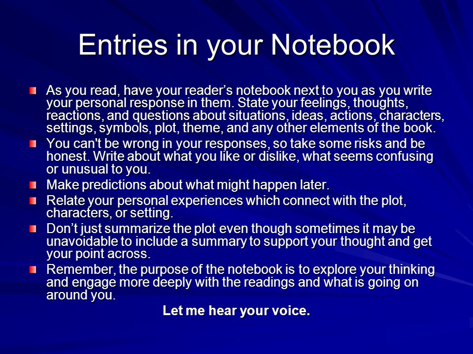 Entries in your Notebook