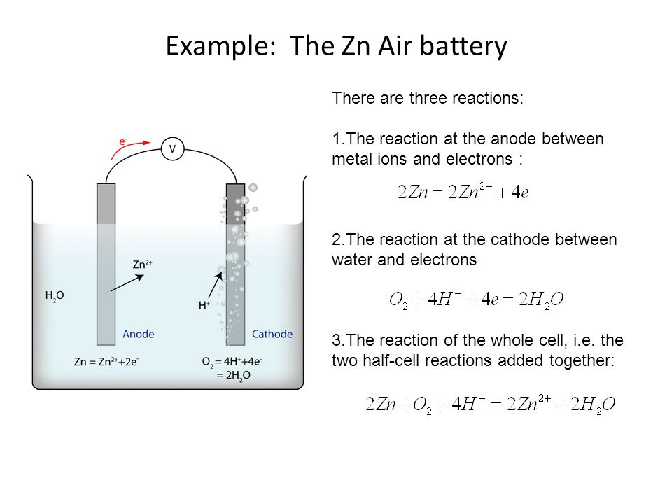 Example: The Zn Air battery