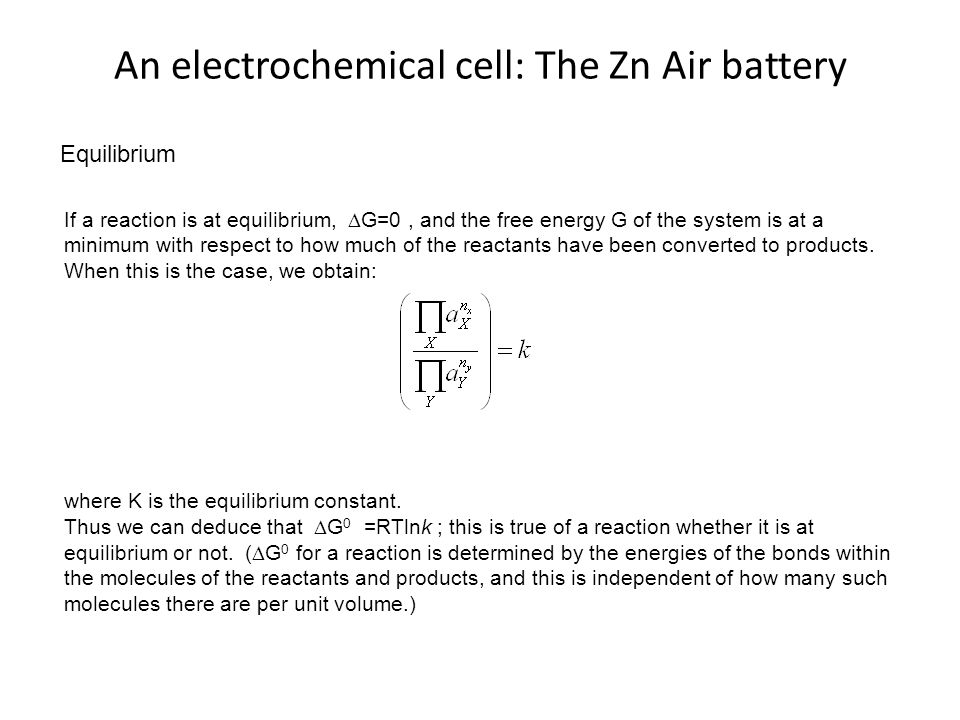 An electrochemical cell: The Zn Air battery