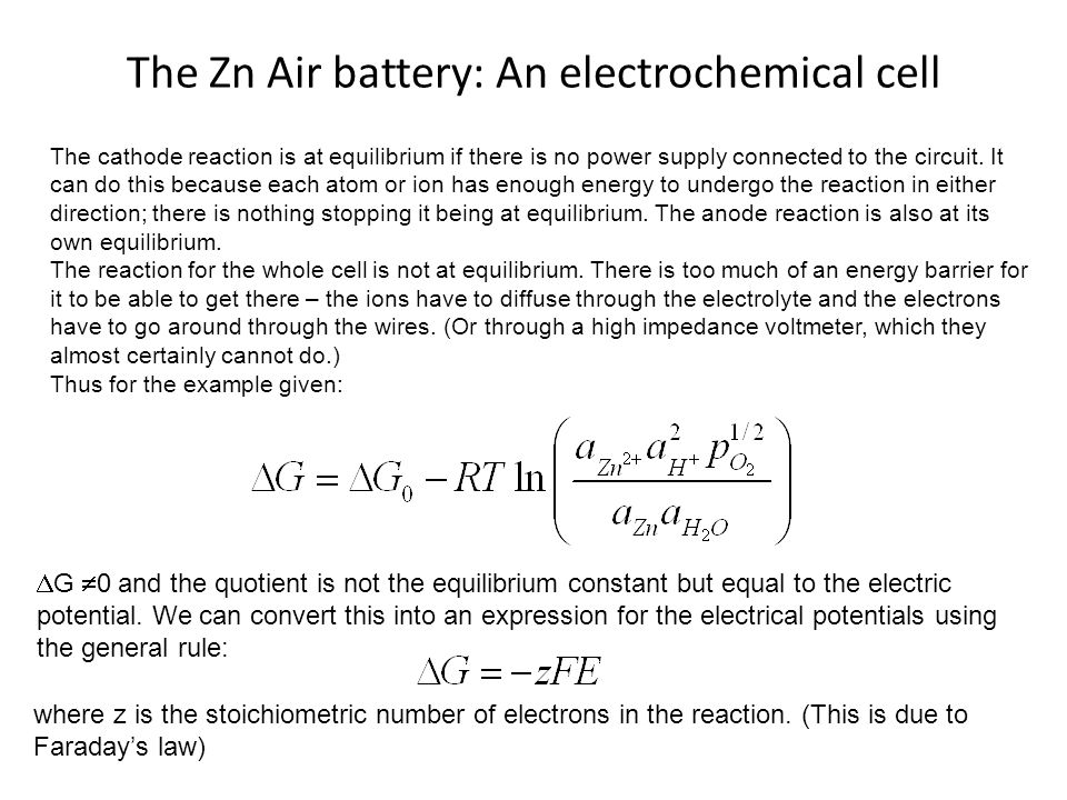 The Zn Air battery: An electrochemical cell