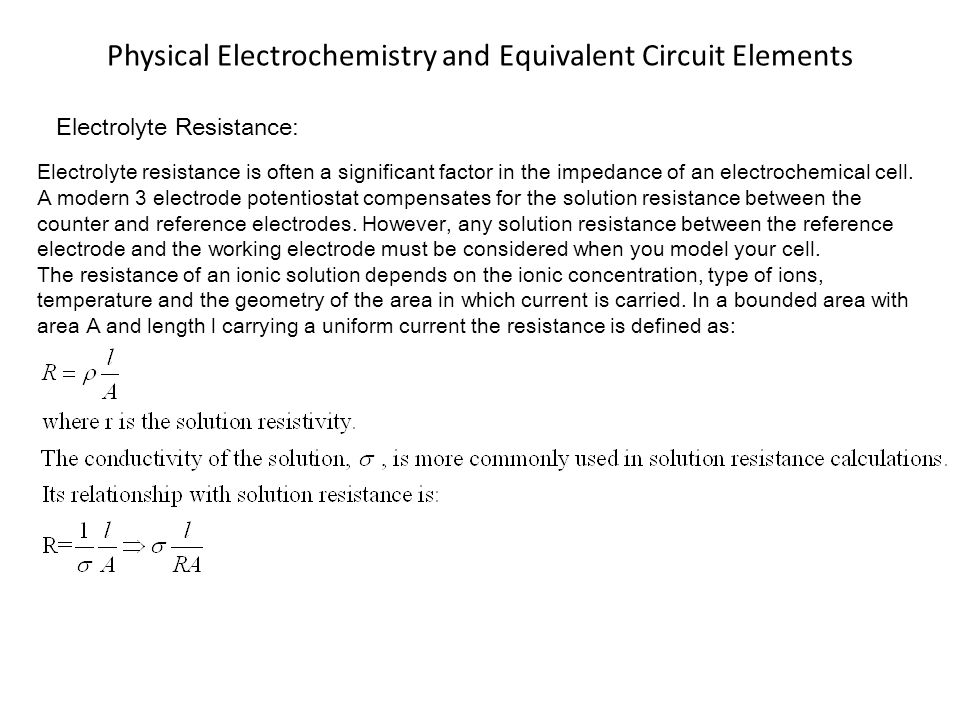 Physical Electrochemistry and Equivalent Circuit Elements