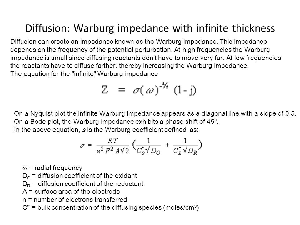 Diffusion: Warburg impedance with infinite thickness