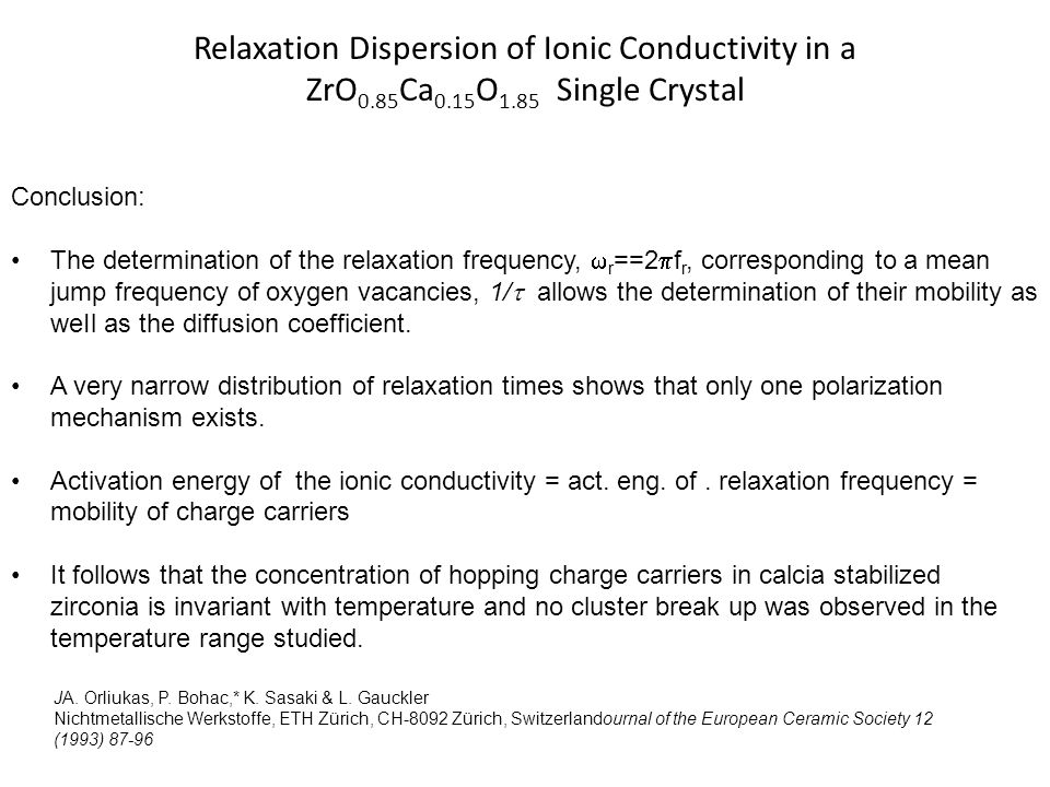 Relaxation Dispersion of Ionic Conductivity in a ZrO0. 85Ca0. 15O1
