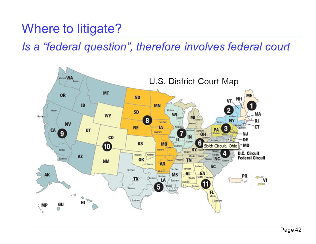 where to litigate is a federal question therefore involves federal court u s district court