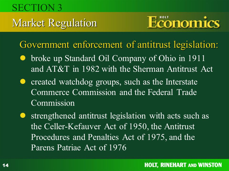 Government enforcement of antitrust legislation: