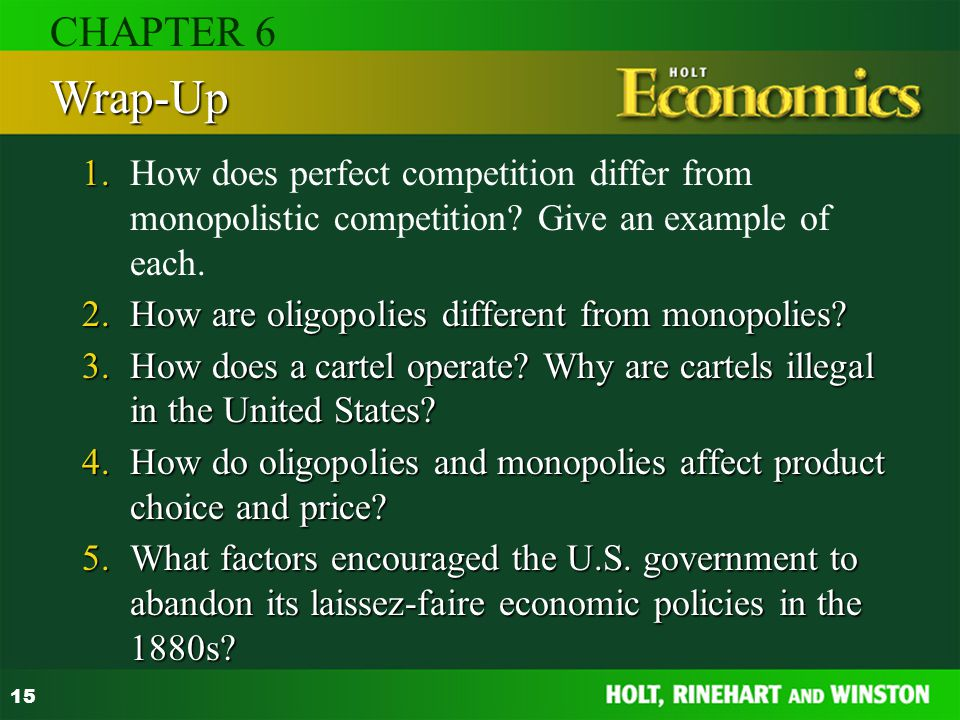 CHAPTER 6 Wrap-Up. 1. How does perfect competition differ from monopolistic competition Give an example of each.