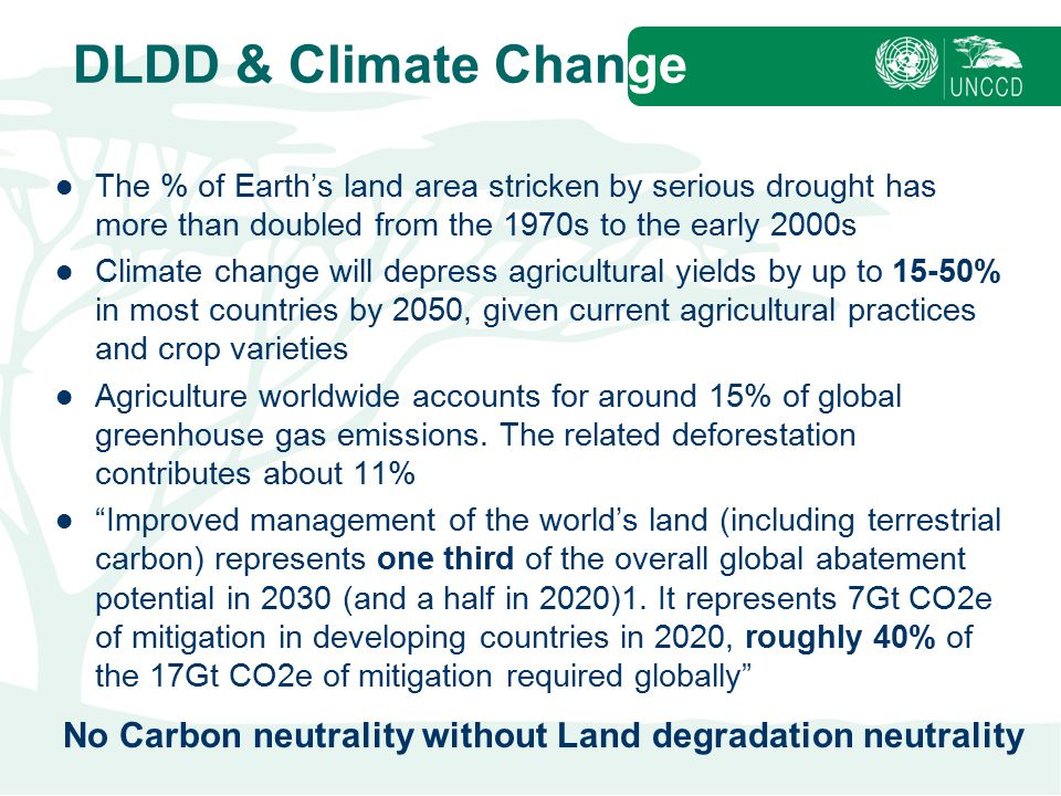 DLDD & Climate Change The % of Earth's land area stricken by serious drought has more than doubled from the 1970s to the early 2000s.