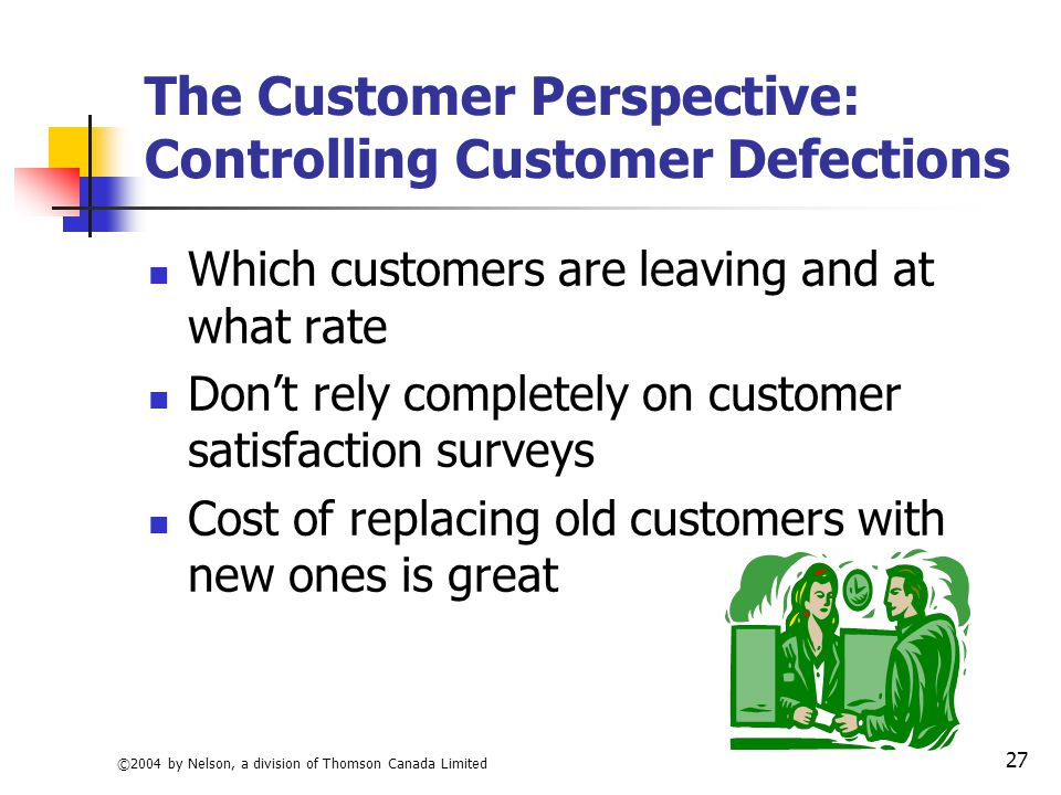 customer defections Customer defections by as little as five points - from, say, 15% to 10% per year-can c/ouwe profits ceos buy the idea that customer loyalty matters,- they would .