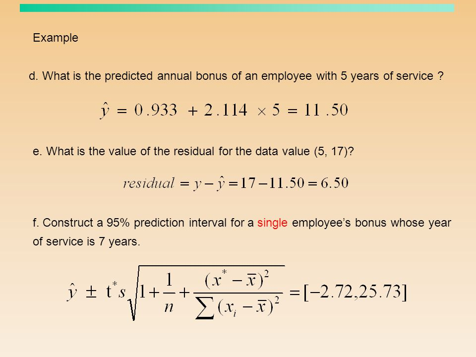 Example d. What is the predicted annual bonus of an employee with 5 years of service