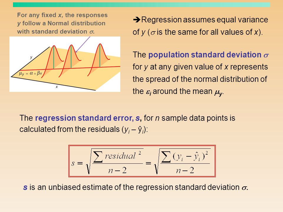 s is an unbiased estimate of the regression standard deviation s.