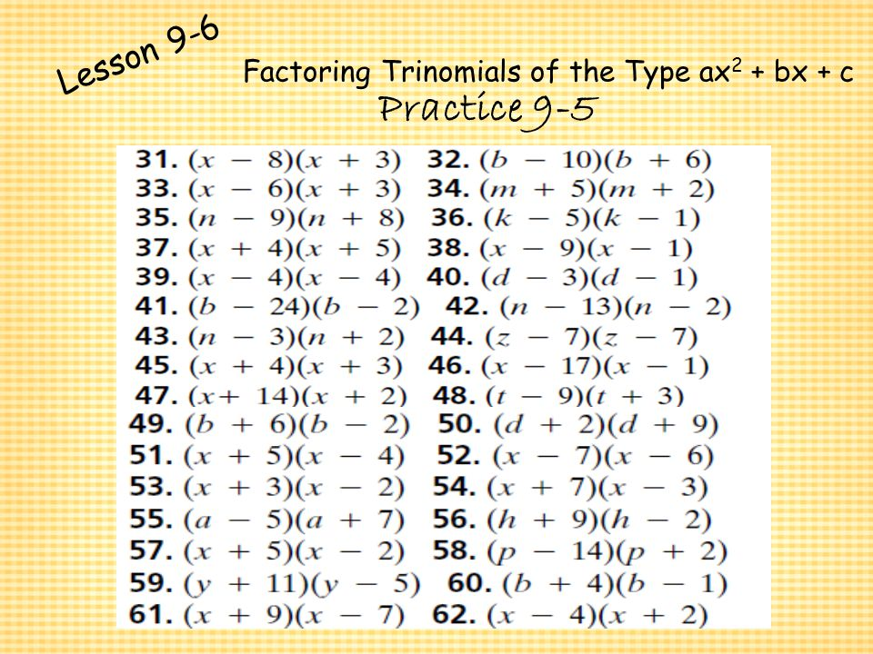 Polynomials and Factoring ppt download – Factoring Trinomials of the Form Ax2 Bx C Worksheet