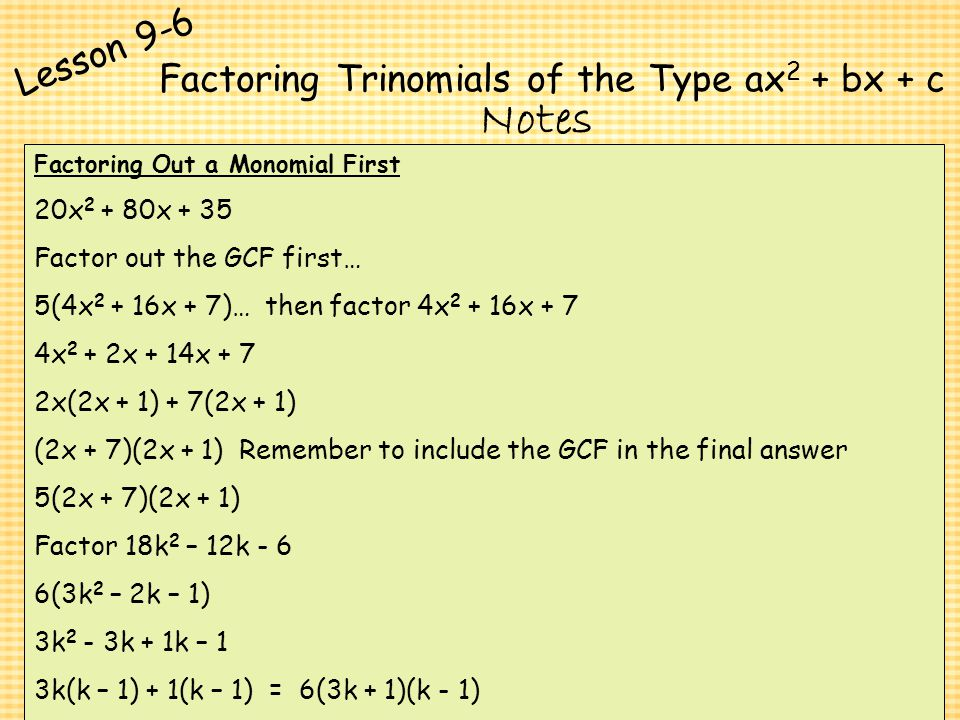 Polynomials and Factoring ppt download – Factoring Trinomials of the Form Ax2 Bx C Worksheet Answers