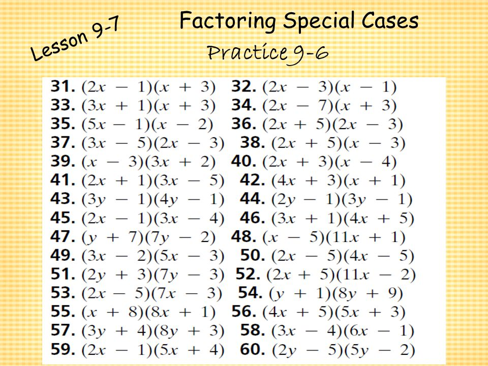 Polynomials and Factoring ppt video online download – Factoring Special Products Worksheet