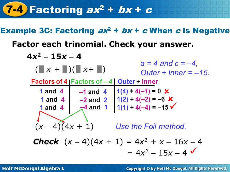 7 4 factoring ax2 bx c warm up lesson presentation lesson quiz ppt video online download. Black Bedroom Furniture Sets. Home Design Ideas