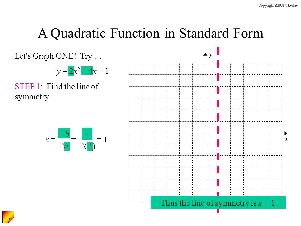 A Quadratic Function in Standard Form