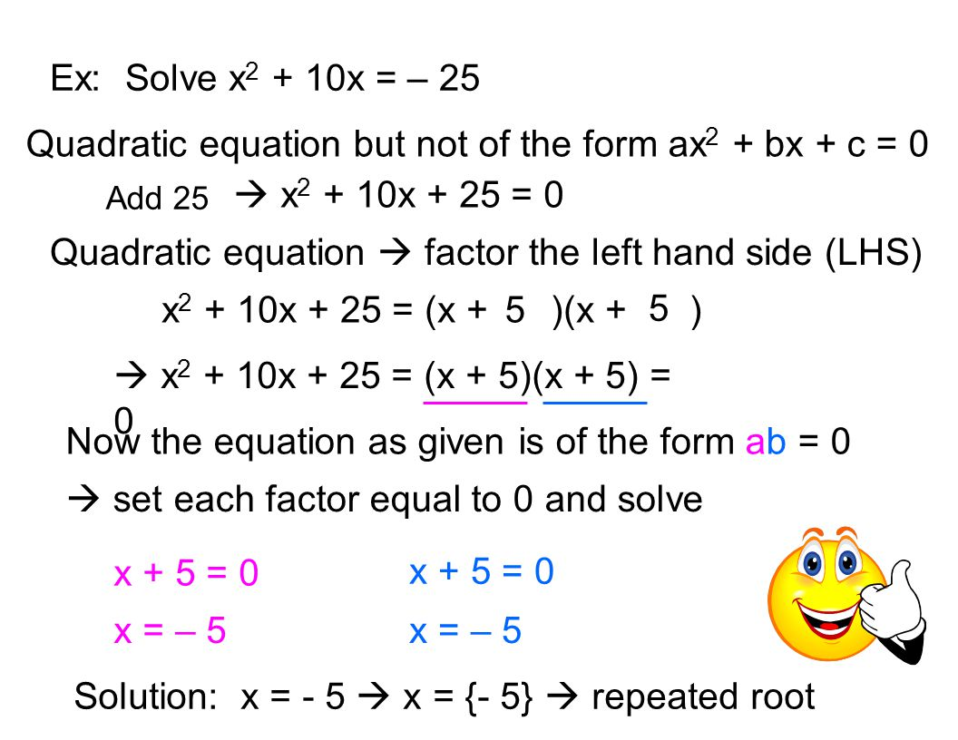 Completing The Square Definition Quadratic Equation But Not Of The Form Ax2  + Bx + C