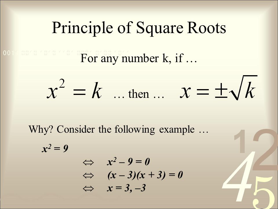 Principle of Square Roots