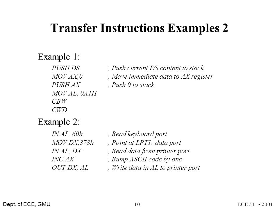 Transfer Instructions Examples 2