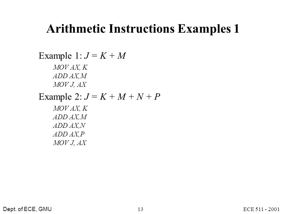 Arithmetic Instructions Examples 1