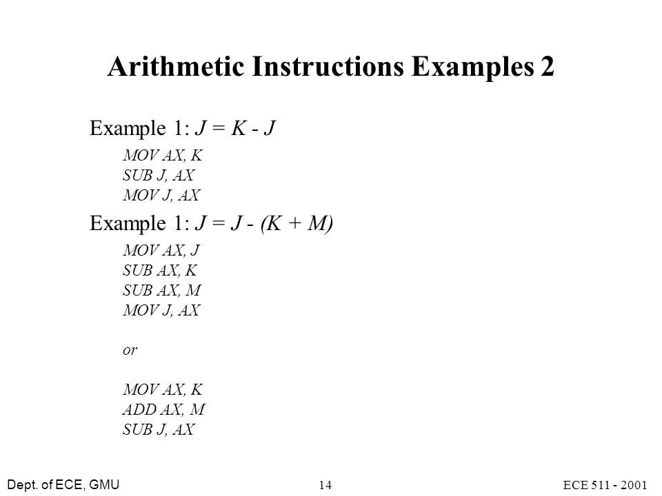 Arithmetic Instructions Examples 2