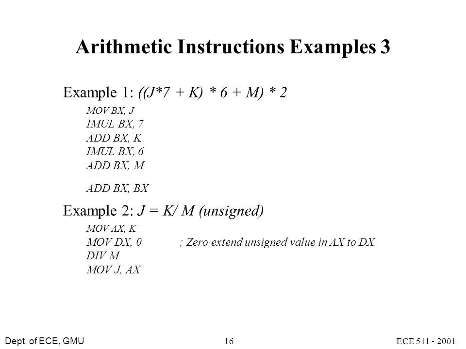 Arithmetic Instructions Examples 3