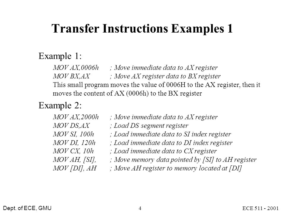 Transfer Instructions Examples 1