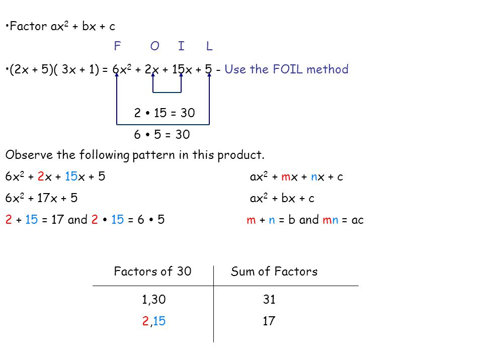 Factoring Trinomials ax2 bx c ppt video online download – Factoring Ax2 Bx C Worksheet Answers