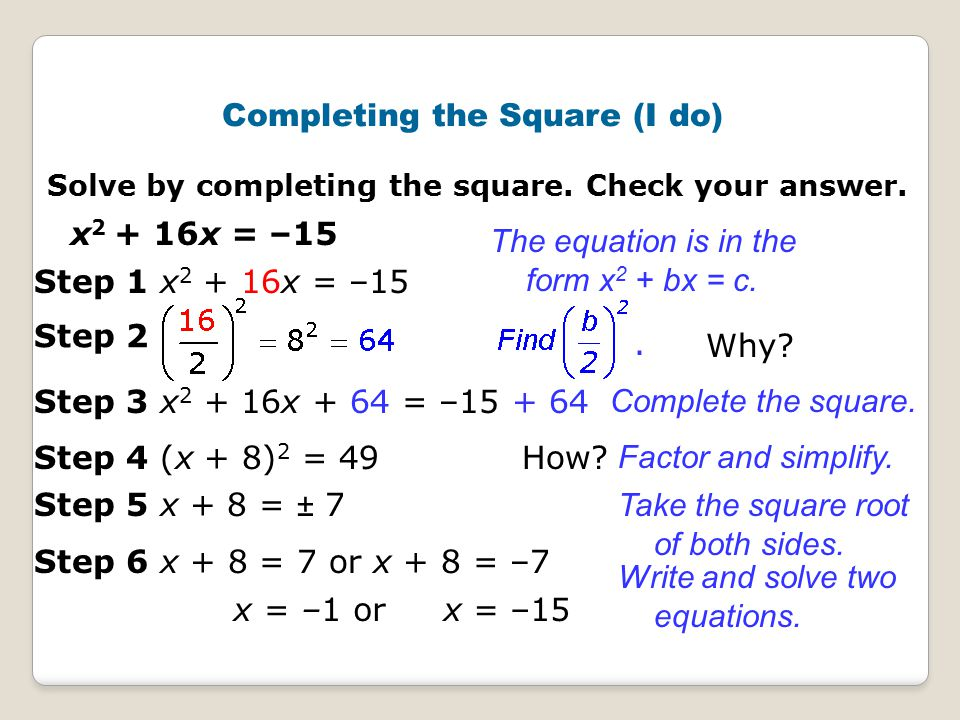 completing the square Creating a perfect square trinomial on the left side of a quadratic equation, with a constant (number) on the right, is the basis of a method called completing the square.