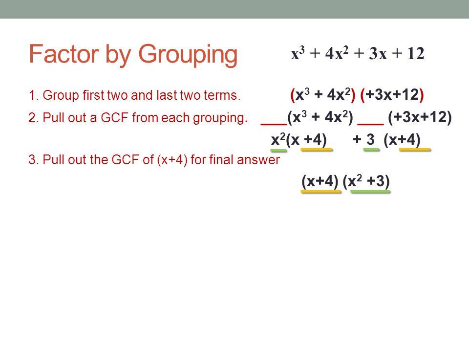 Factoring Polynomials. GCF. Factor by grouping. Factor a trinomial ...