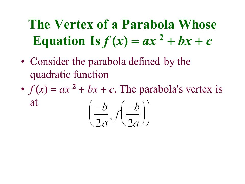 The Vertex of a Parabola Whose Equation Is f (x) = ax 2 + bx + c