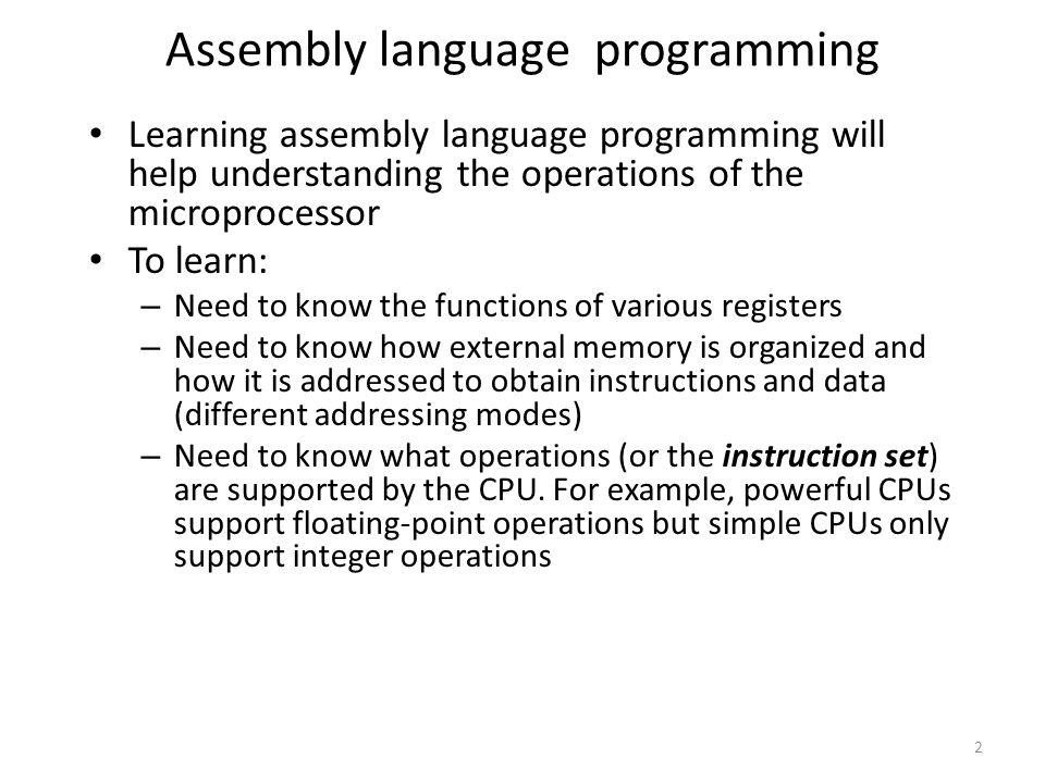 assembly language introduction Interactive first course in assembly language programming using the mips32 processor and the spim simulator.