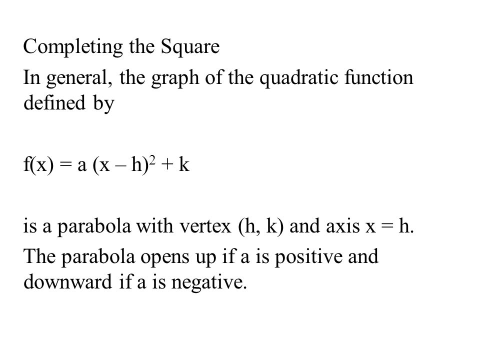 Quadratic functions and models ppt video online download 34 completing the square ccuart Image collections